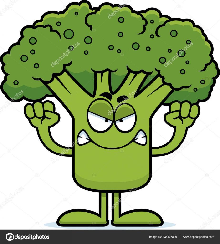 brócolis com raiva dos desenhos animados vetores de stock