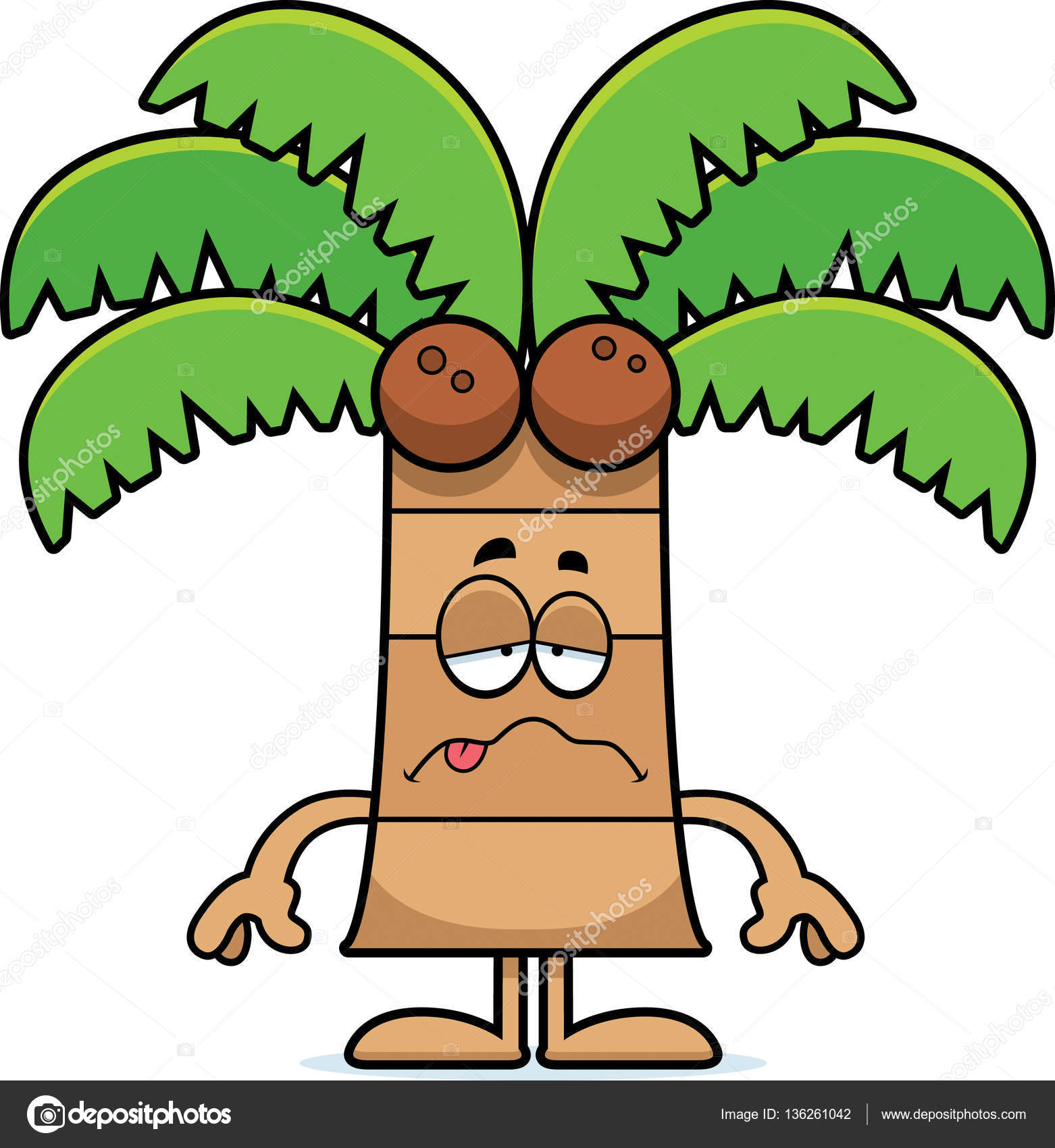 A Cartoon Illustration Of Palm Tree Looking Sick Vector By Cthoman