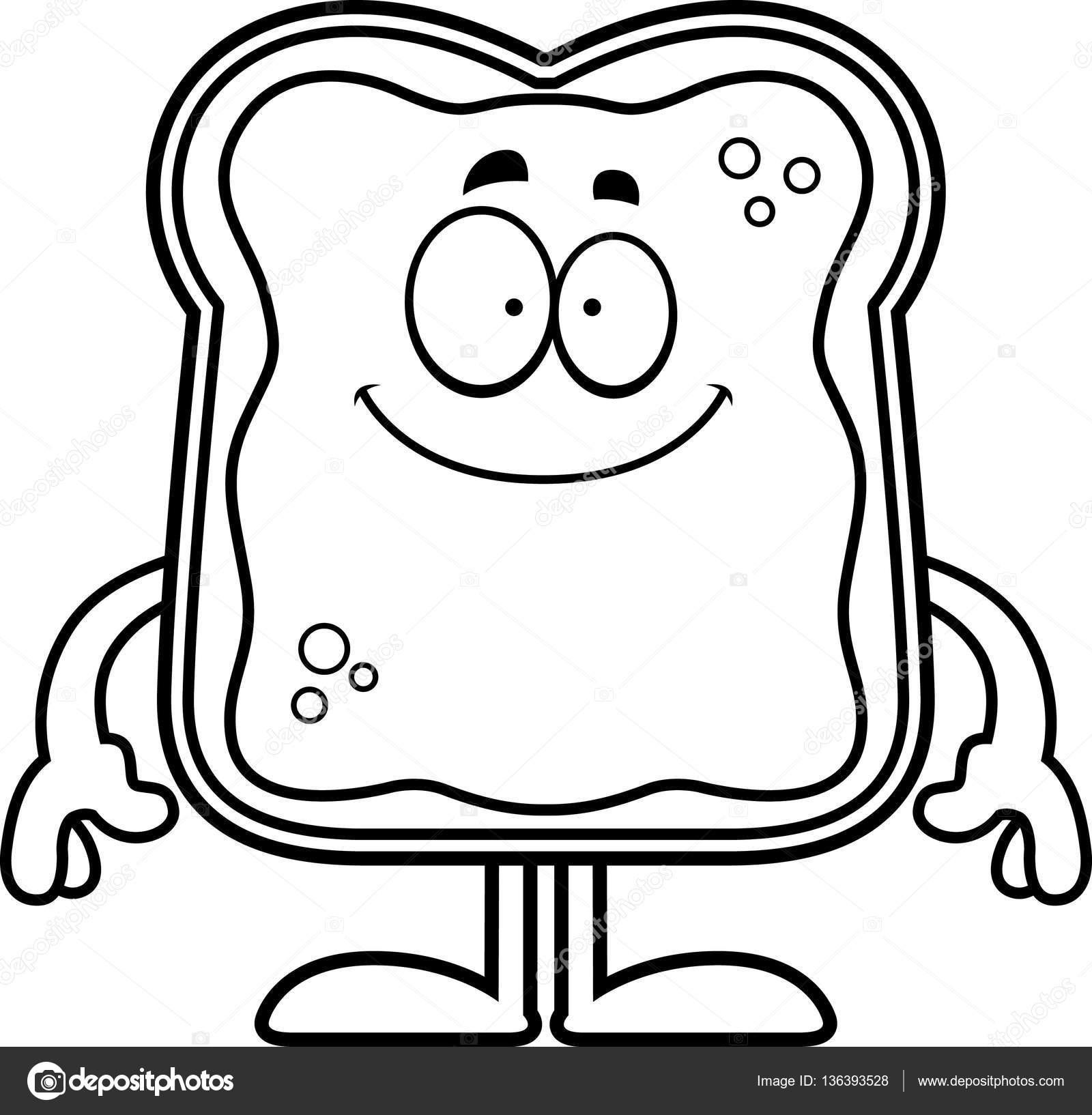Imágenes Pan Tostado Para Colorear Dibujos Animados Feliz Pan
