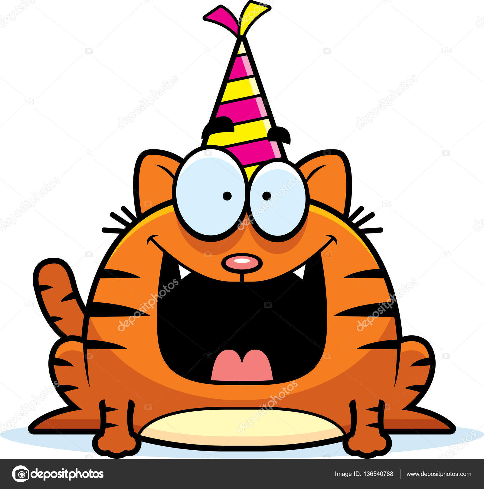 A Cartoon Illustration Of Cat With Party Hat Looking Happy