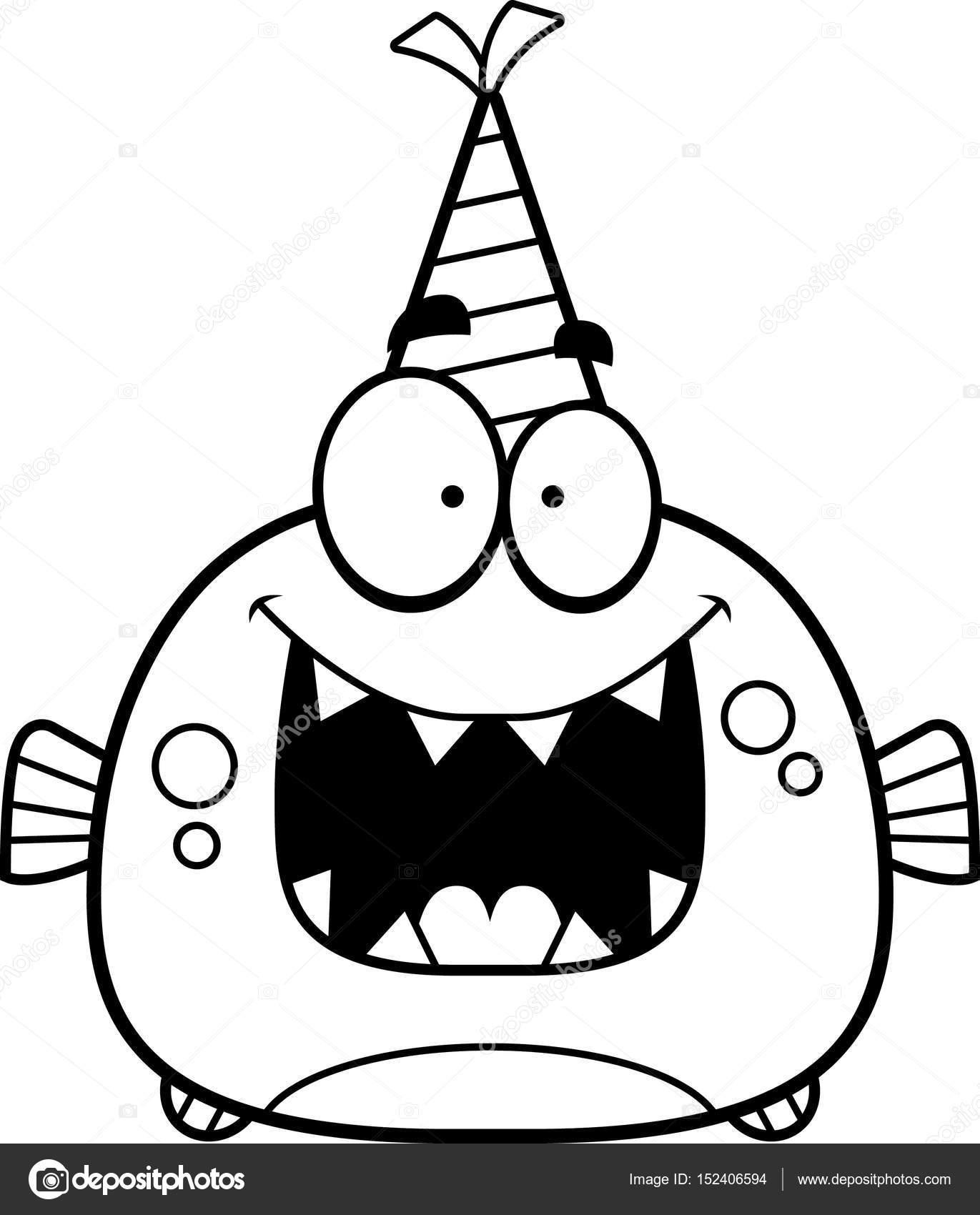 Fiesta de cumpleaños de dibujos animados Piraña — Archivo Imágenes ...