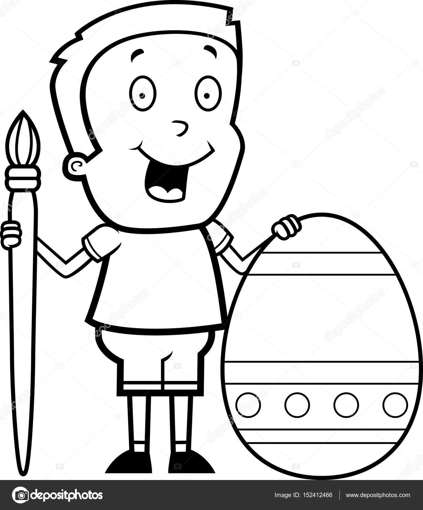 dibujos animados niño pintura de huevos de Pascua — Archivo Imágenes ...