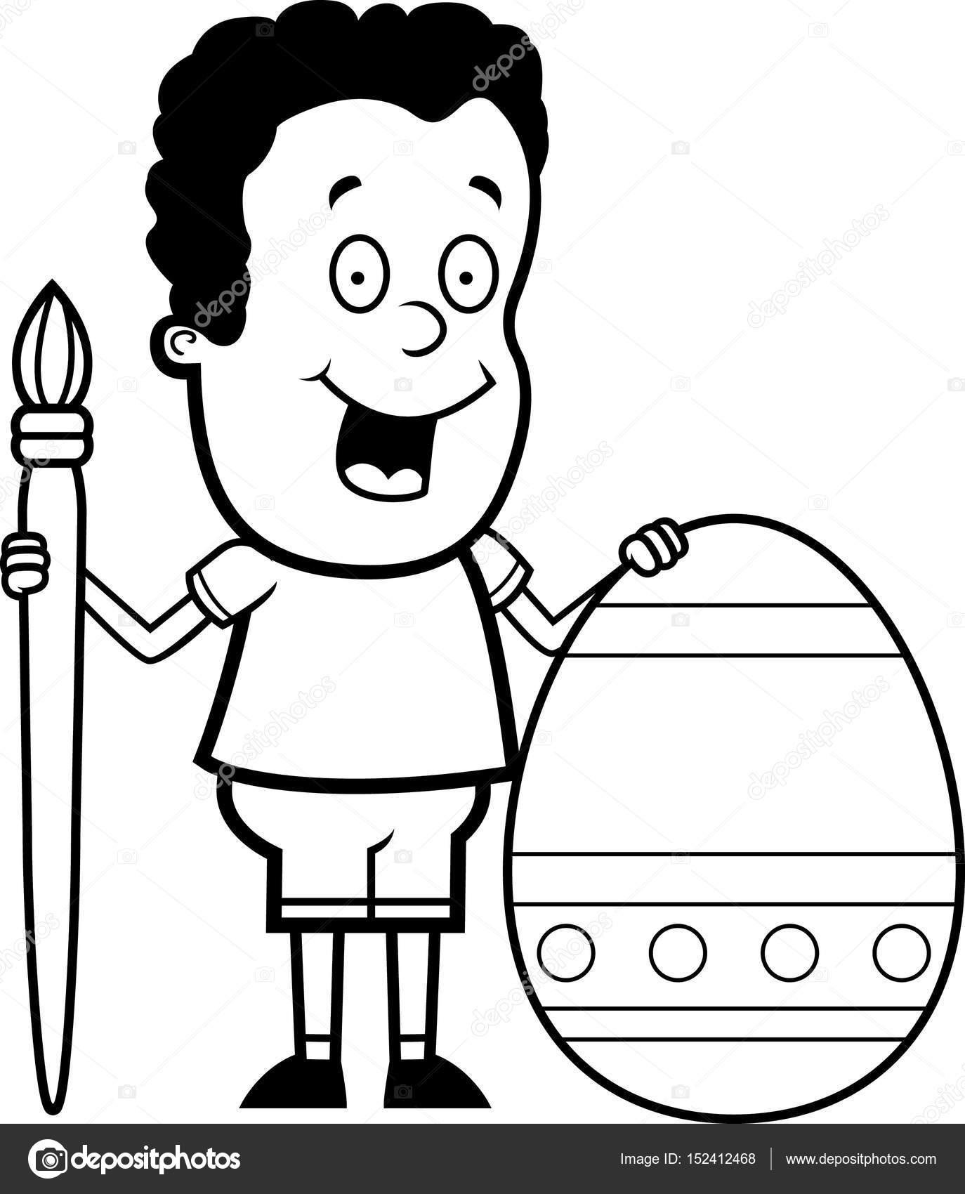 dibujos animados niño pintura de huevos de Pascua — Vector de stock ...