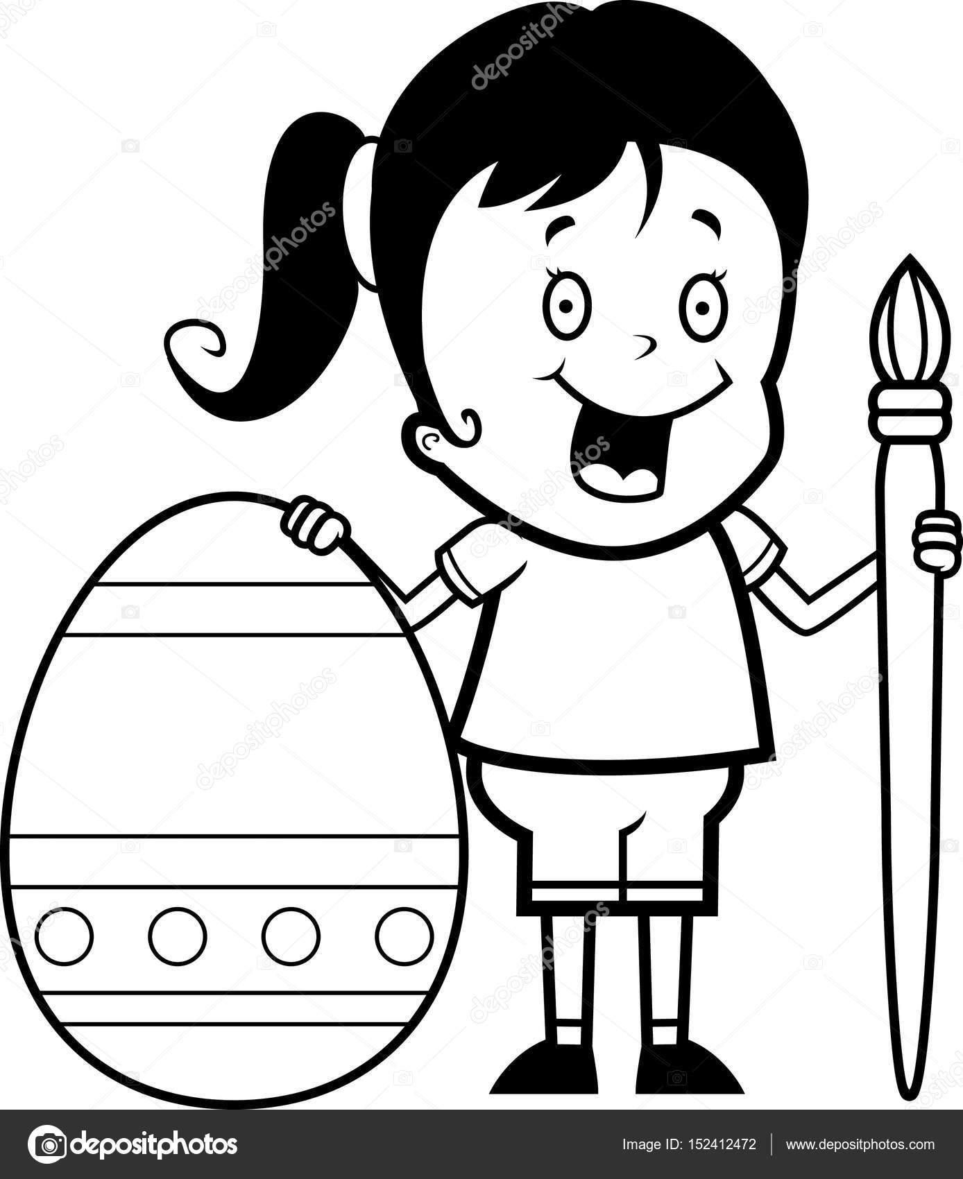 Niño Enojado Para Pintar Huevo De Pascua De Dibujos Animados Niña