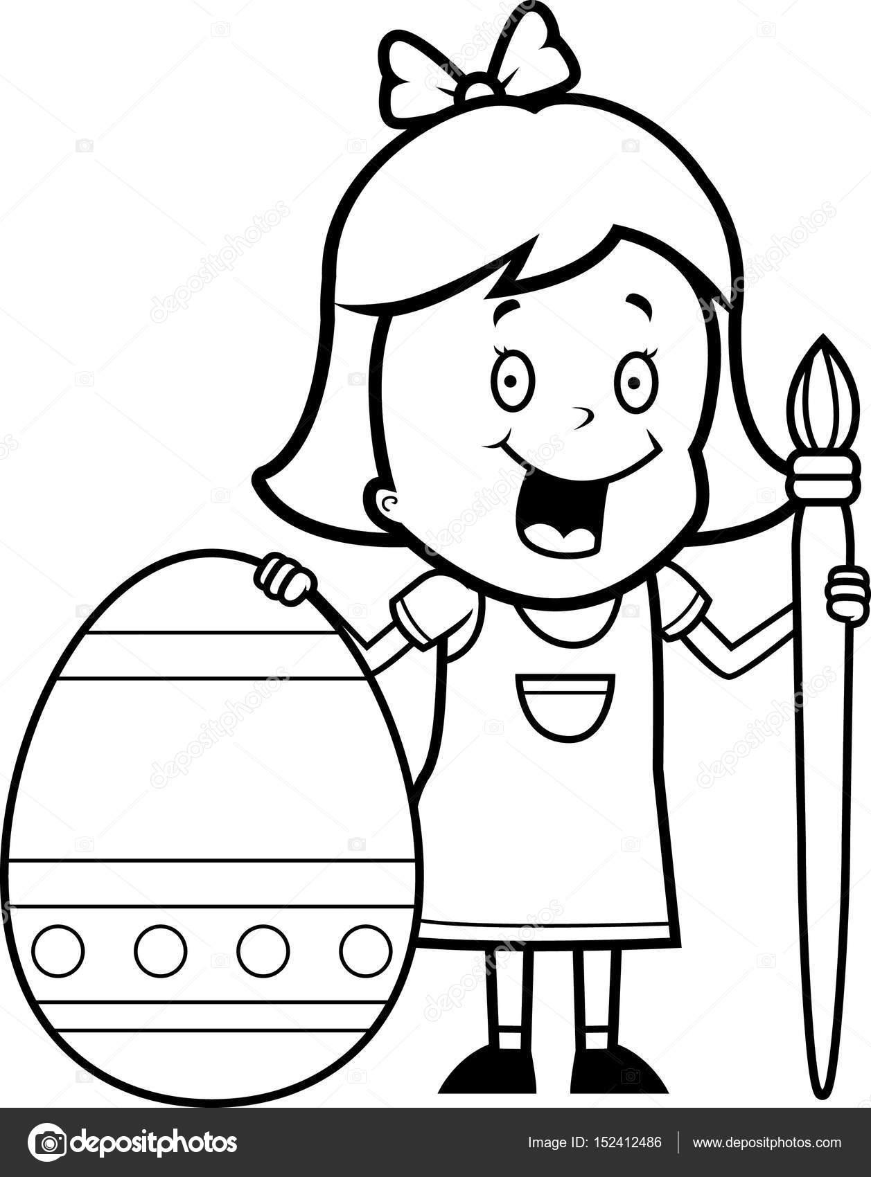 Huevo de Pascua de dibujos animados niña pintura — Archivo Imágenes ...