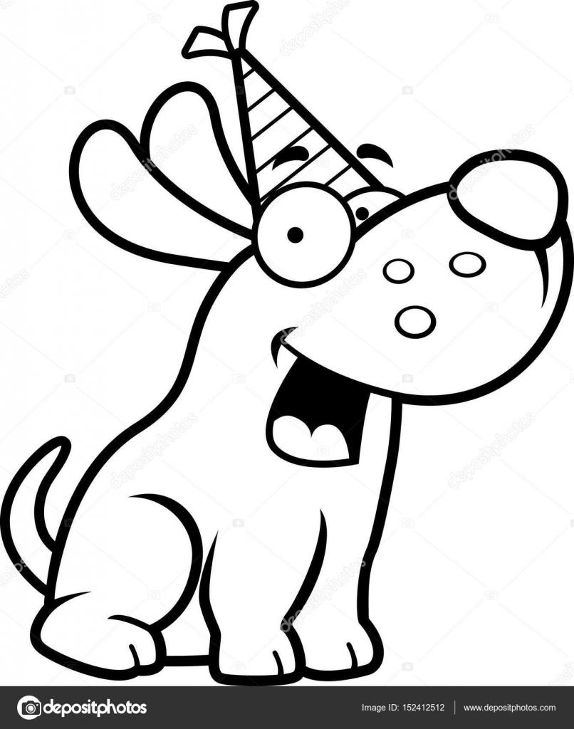 F te d anniversaire chien dessin anim image vectorielle cthoman 152412512 - Dessin d un chien ...