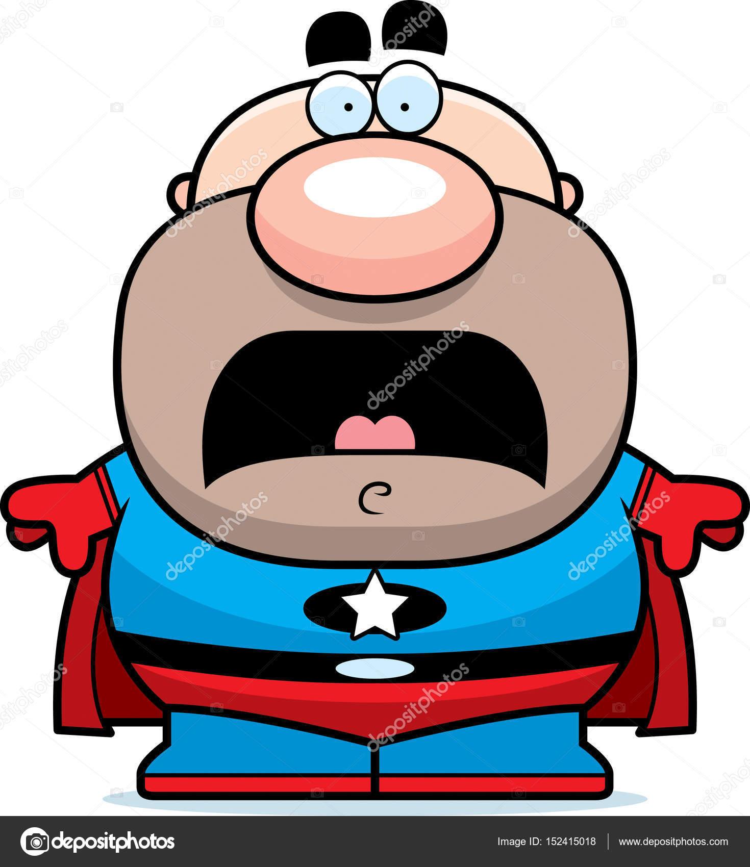 com medo dos desenhos animados de super heróis vetores de stock