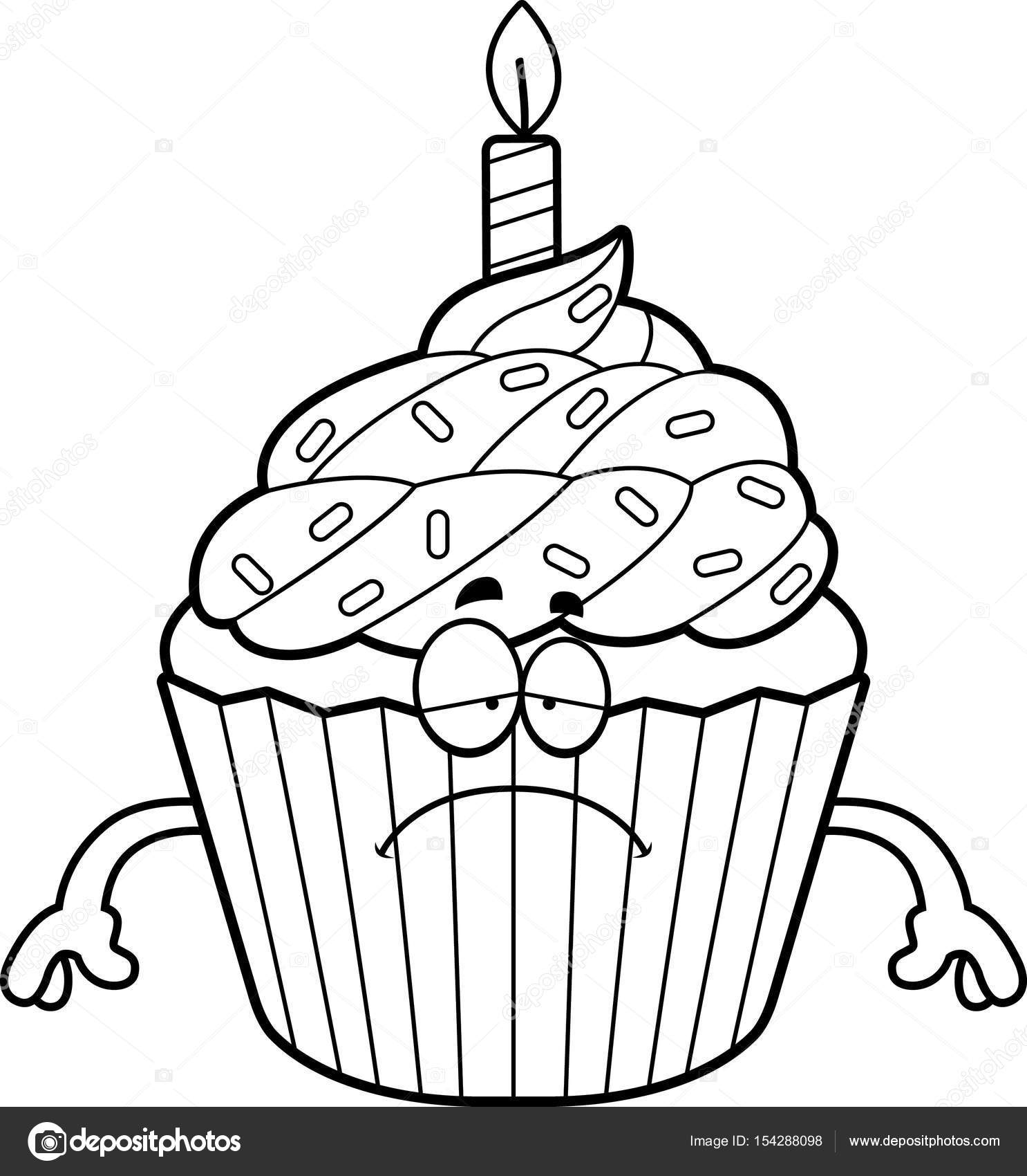 Traurig Cartoon Geburtstag Cupcake — Stockvektor © cthoman #154288098