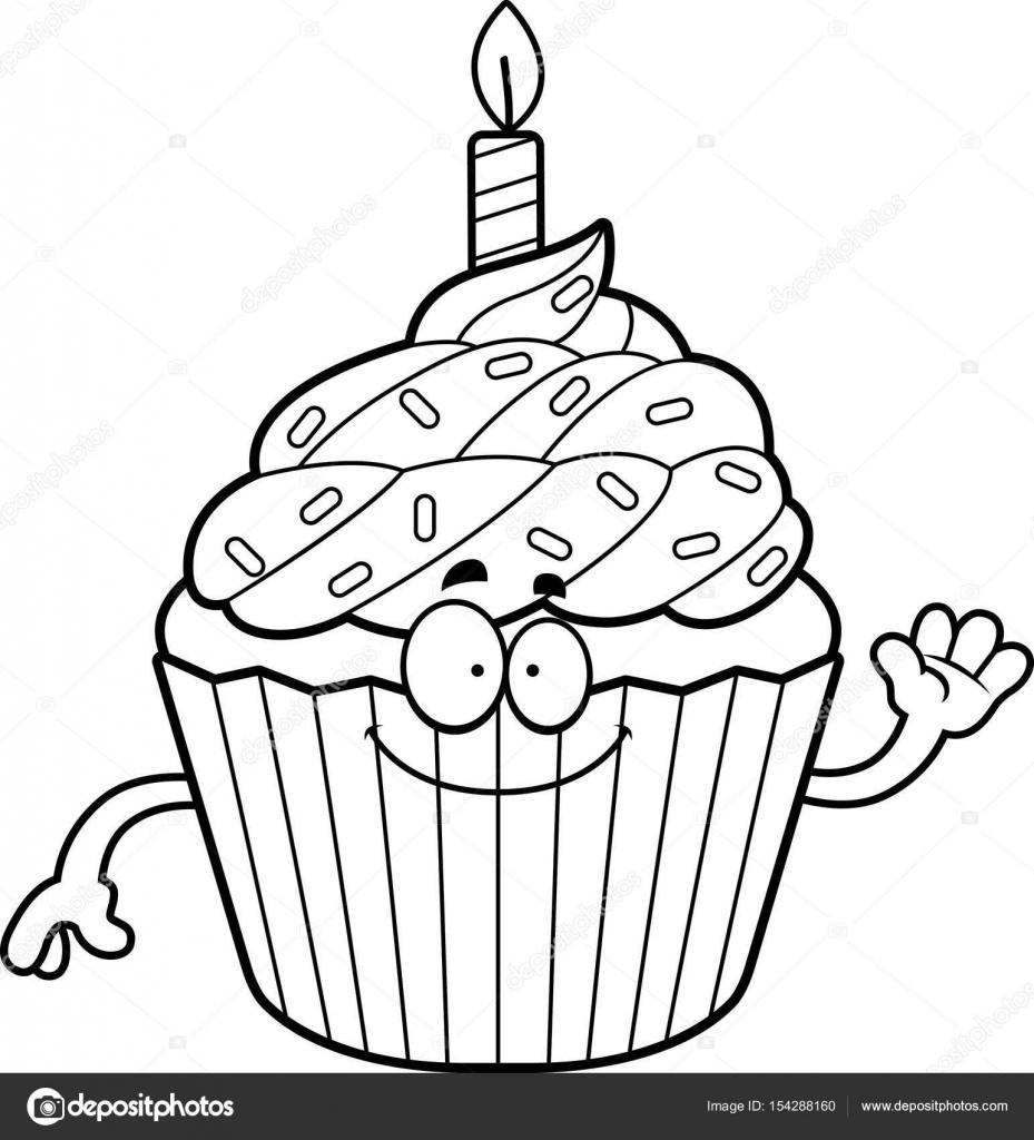 Dibujos animados de cumpleaños Cupcake agitando — Archivo Imágenes ...