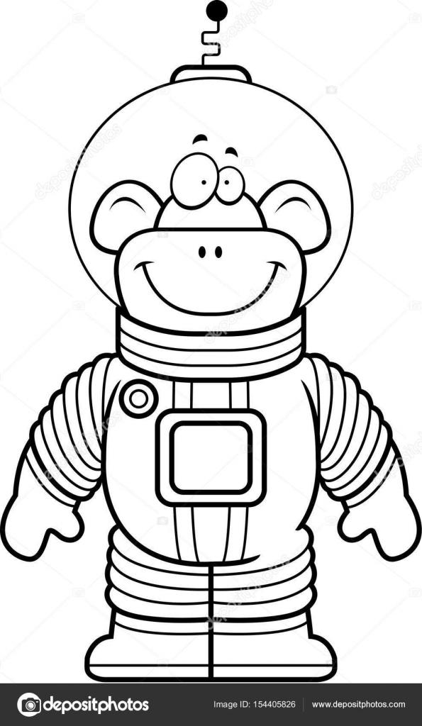 astronauta de dibujos animados mono — Vector de stock © cthoman ...