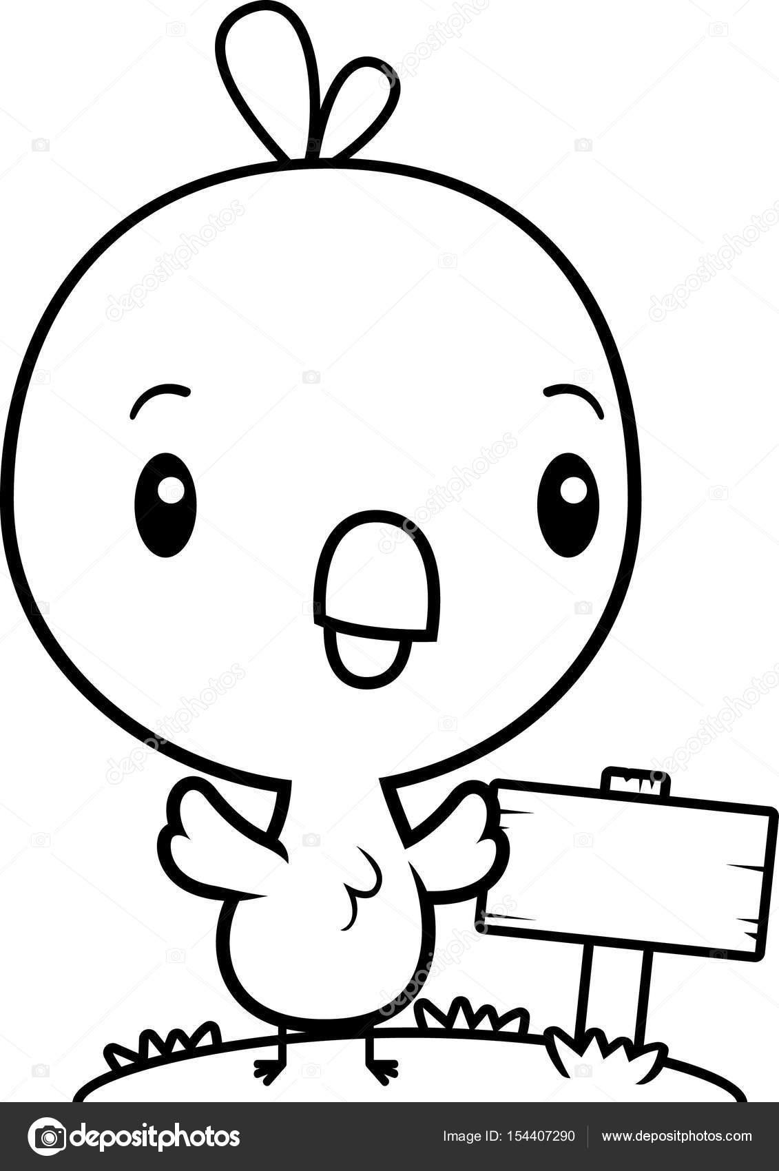 Muestra de madera de dibujos animados bebé pollito — Vector de stock ...