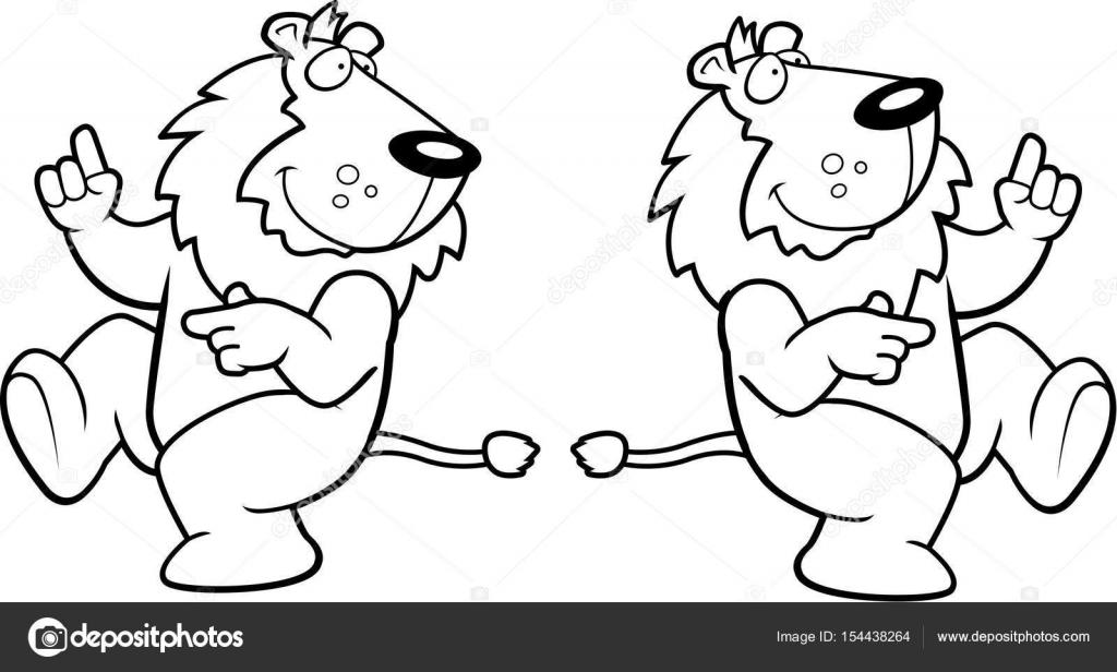 Imágenes: bailar para colorear | León de dibujos animados bailando ...