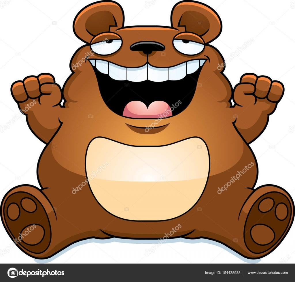Cartone animato orso grasso seduta u vettoriali stock cthoman