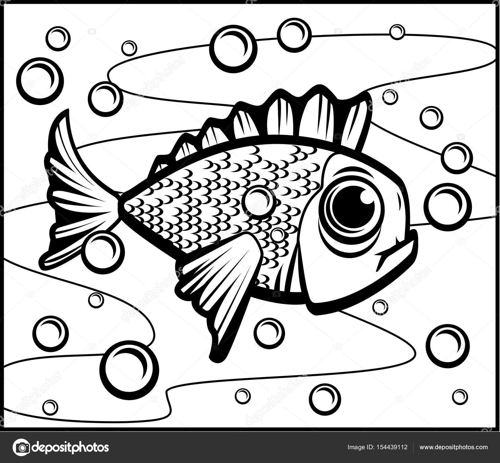 Dibujos animados de peces bajo el agua — Vector de stock © cthoman ...