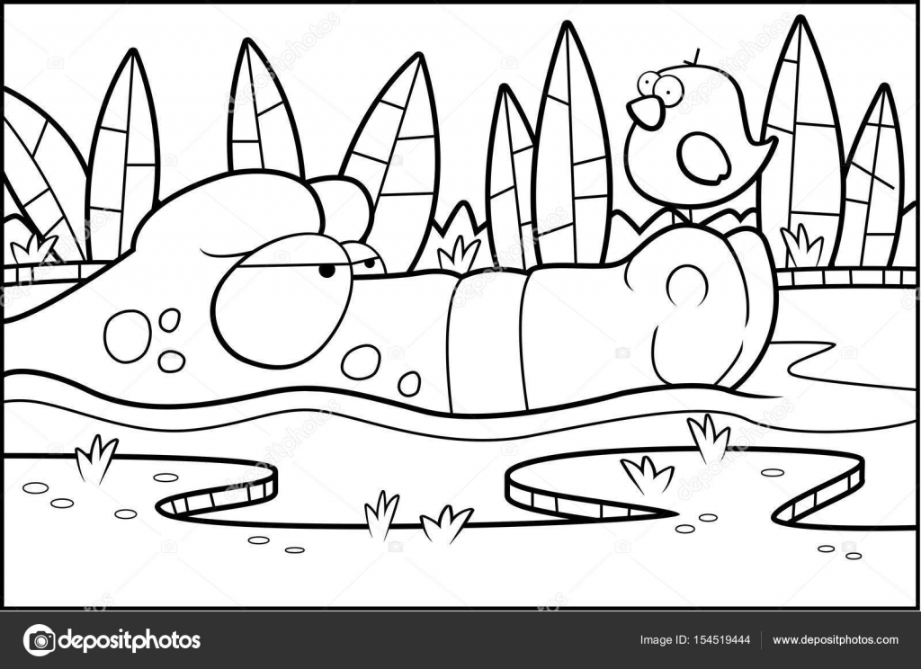 Dibujos: presas de agua para colorear | Pantano de cocodrilo de la ...