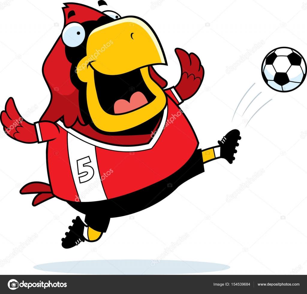 Cartoon Cardinal Soccer Kick Stock Vector C Cthoman 154539684
