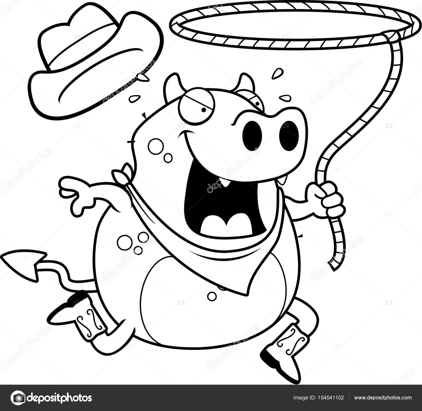 A happy cartoon rodeo devil running with a lasso. — Vector by cthoman bf0b4906549f
