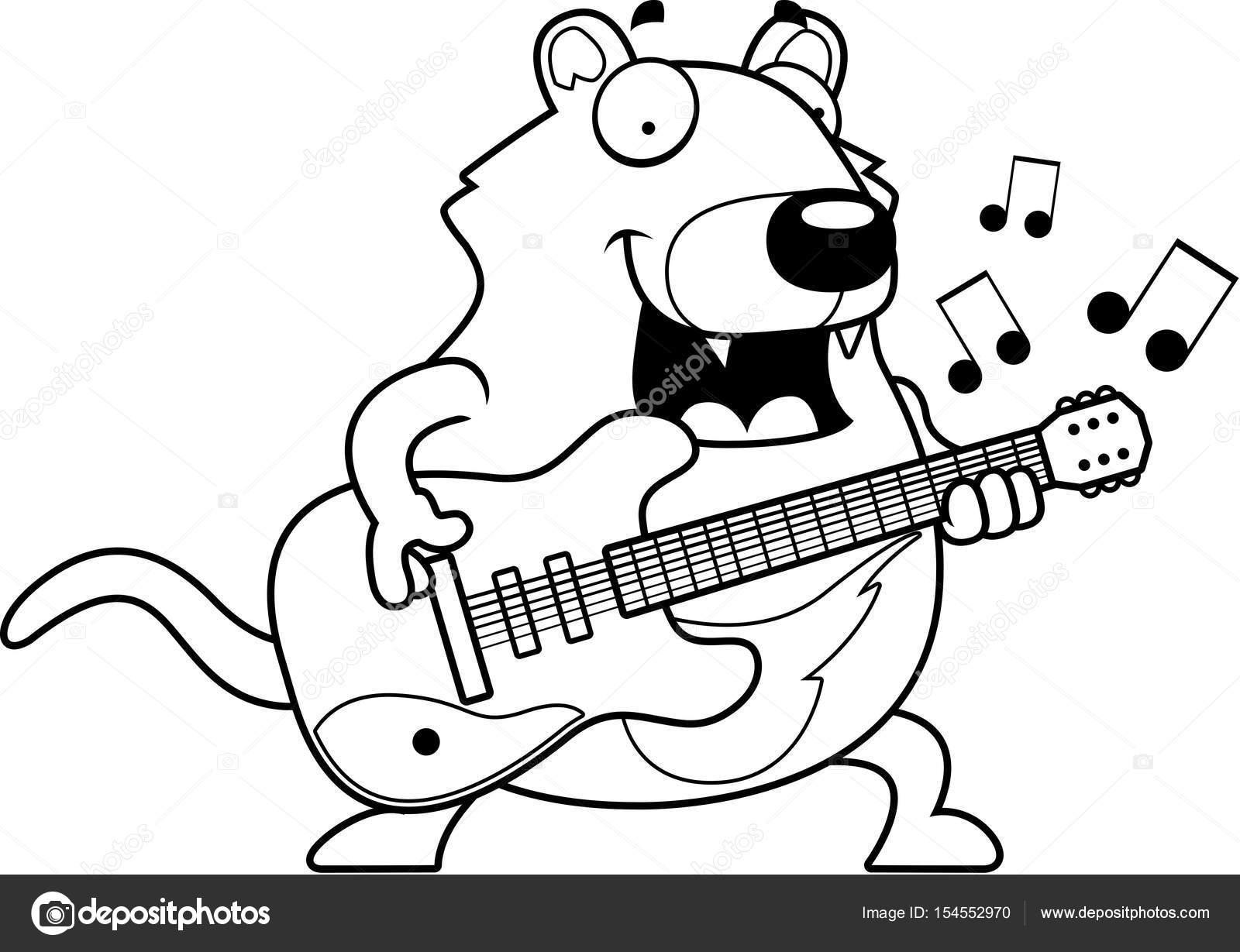 Guitarra De Demonio De Tasmania De Dibujos Animados