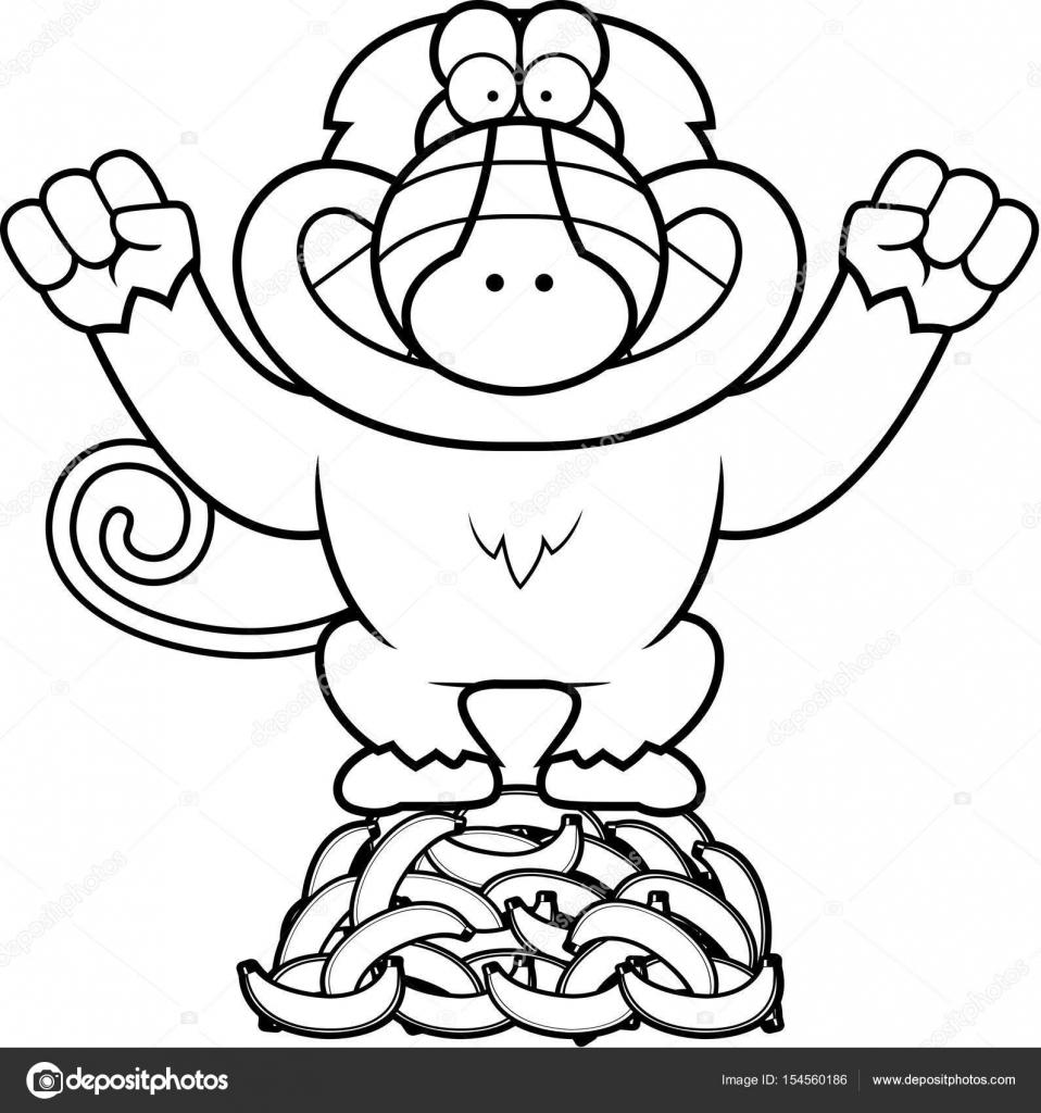 Dibujos animados babuino plátanos — Archivo Imágenes Vectoriales ...