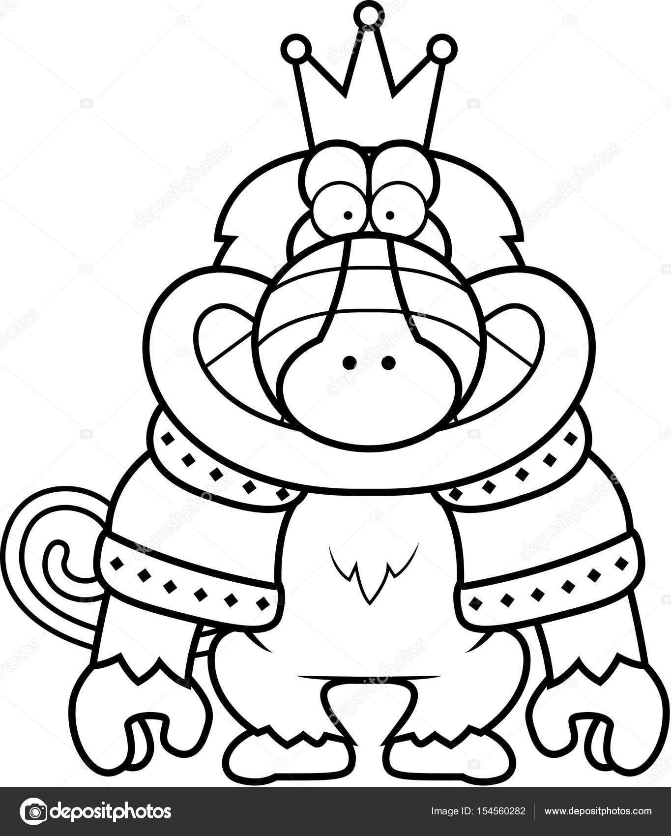 Rey babuino de dibujos animados — Archivo Imágenes Vectoriales ...