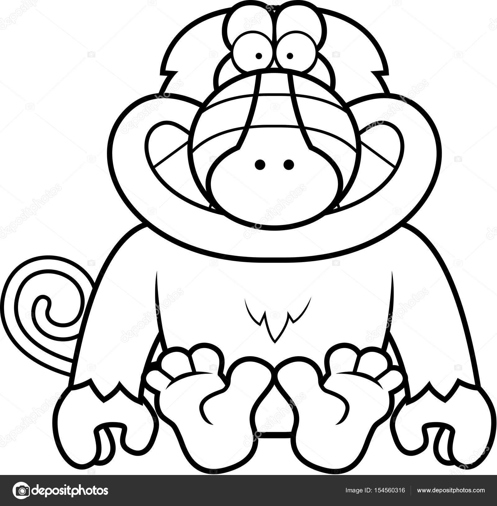 Dibujos animados babuino sentado — Vector de stock © cthoman #154560316