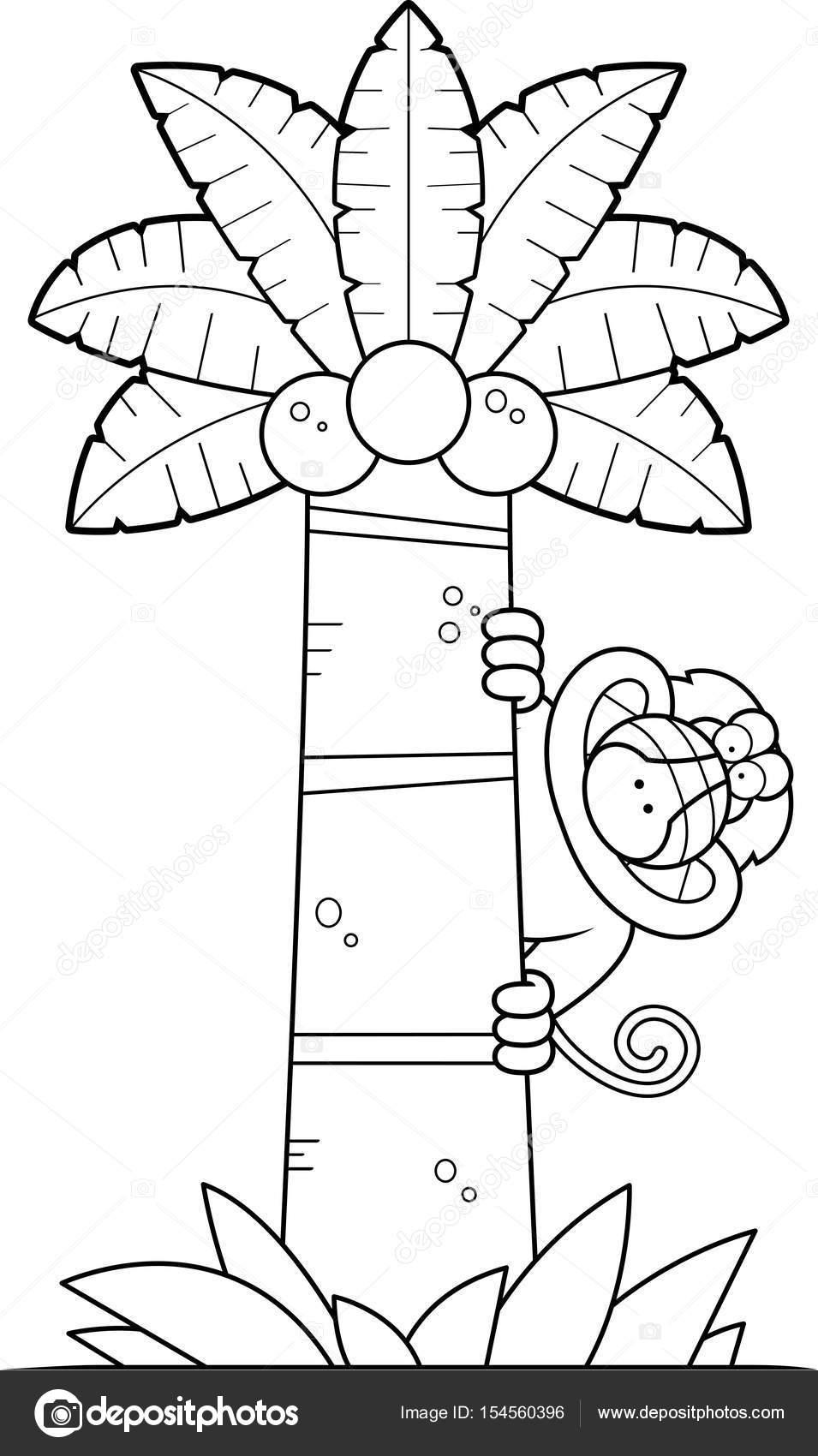 Árbol de dibujos animados Babuino — Vector de stock © cthoman #154560396