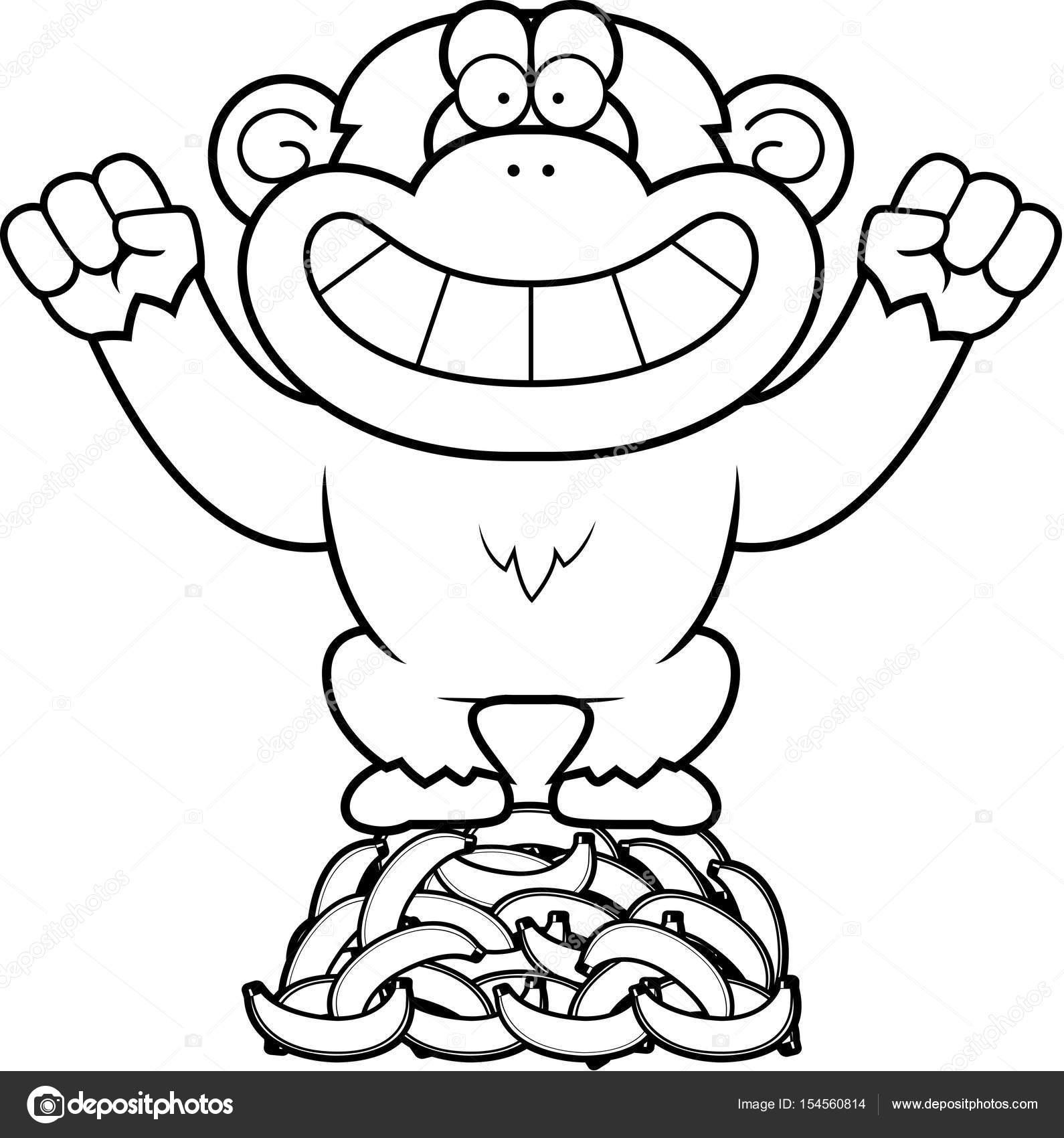 Dibujos animados chimpancé plátanos — Archivo Imágenes Vectoriales ...