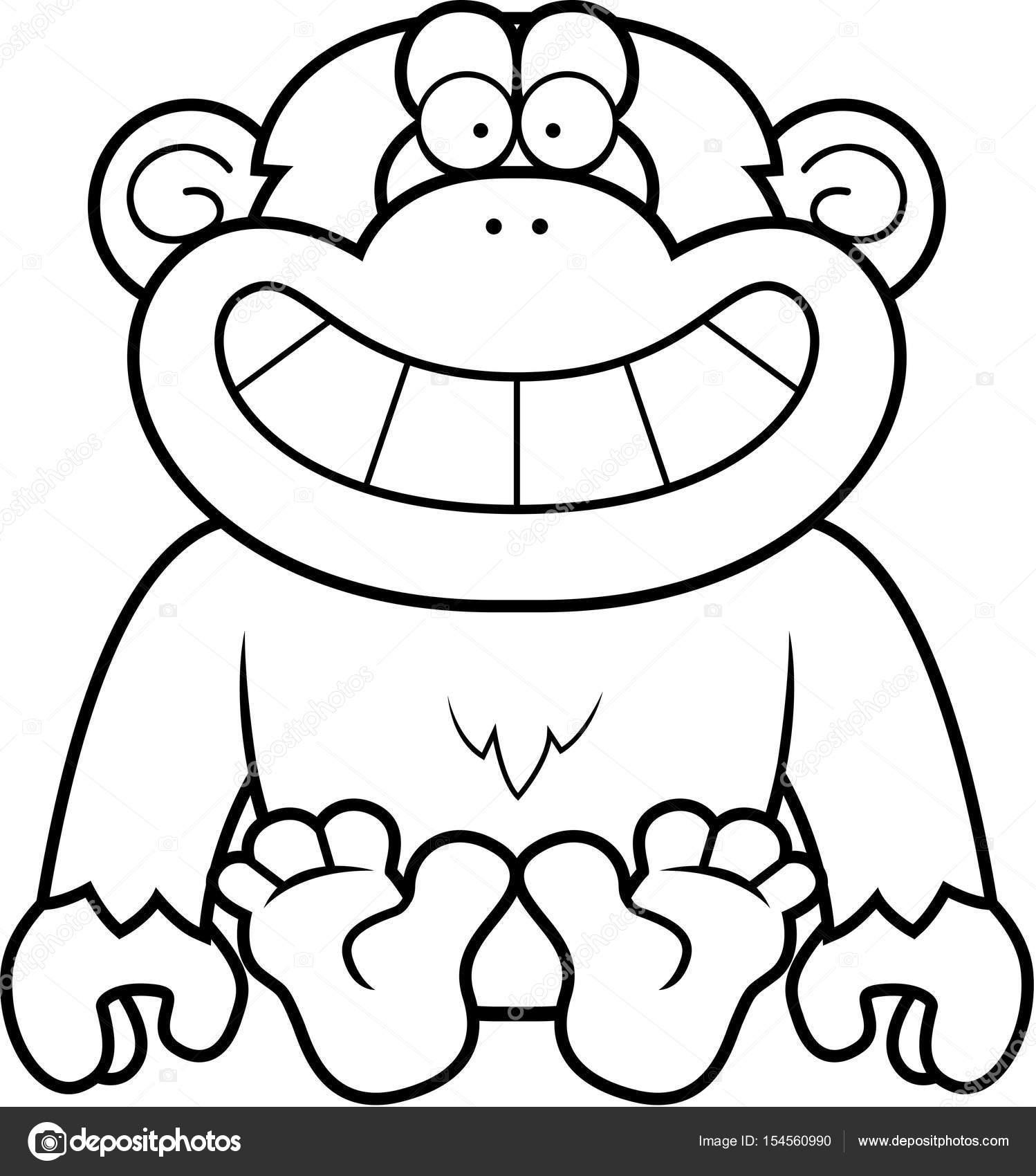 Dibujos animados chimpancé sentado — Archivo Imágenes Vectoriales ...