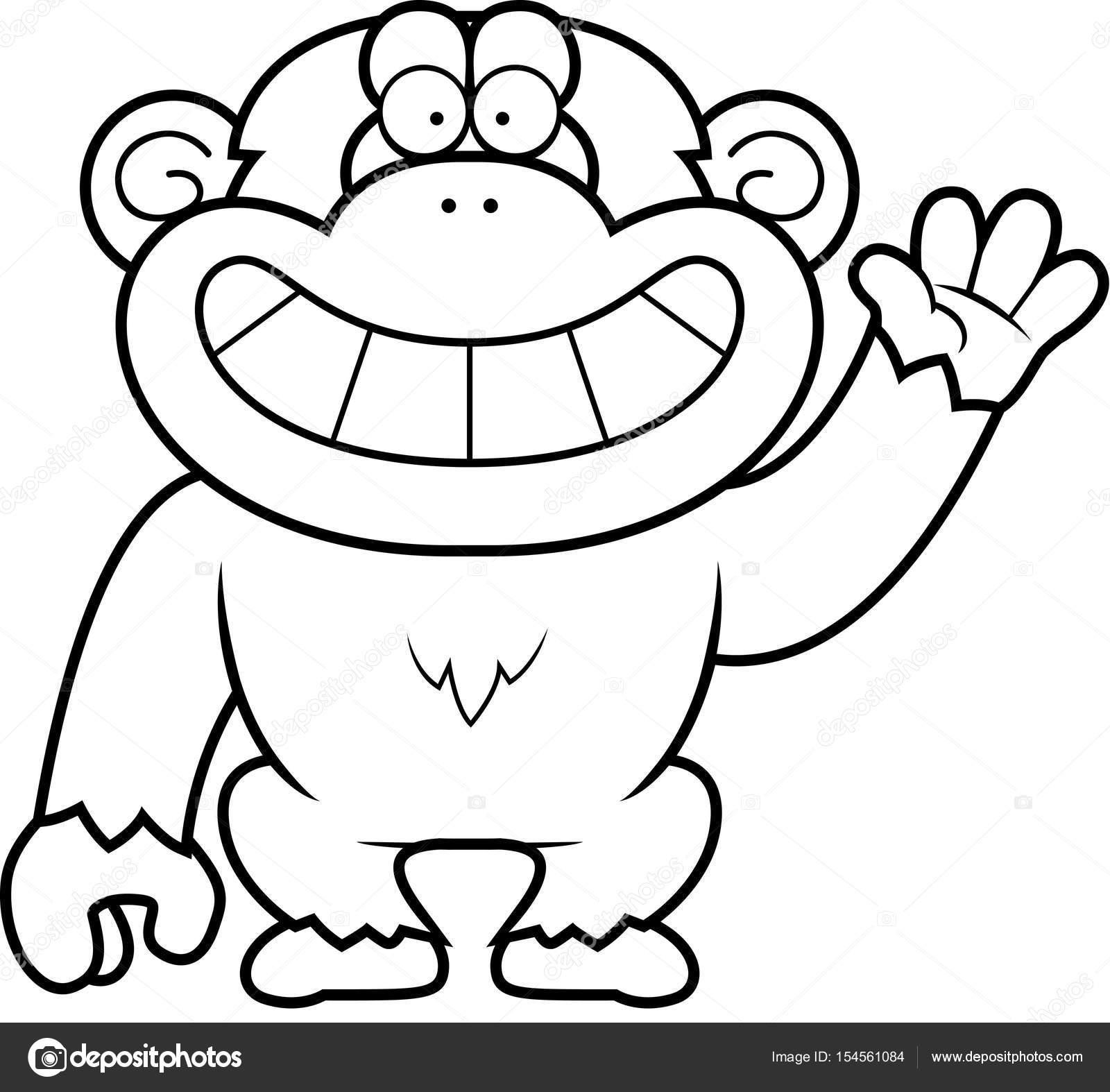 Dibujos animados chimpancé agitando — Vector de stock © cthoman ...