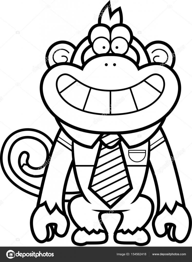 Corbata de moño para colorear | Corbata de mono de dibujos animados ...