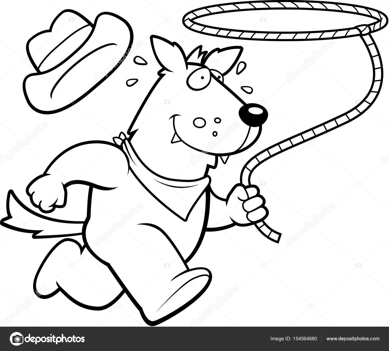 A happy cartoon rodeo wolf running with a lasso. — Vector by cthoman 5ef6dbefddcd