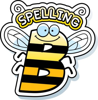 A cartoon illustration of the text Spelling B with a bee theme. stock vector