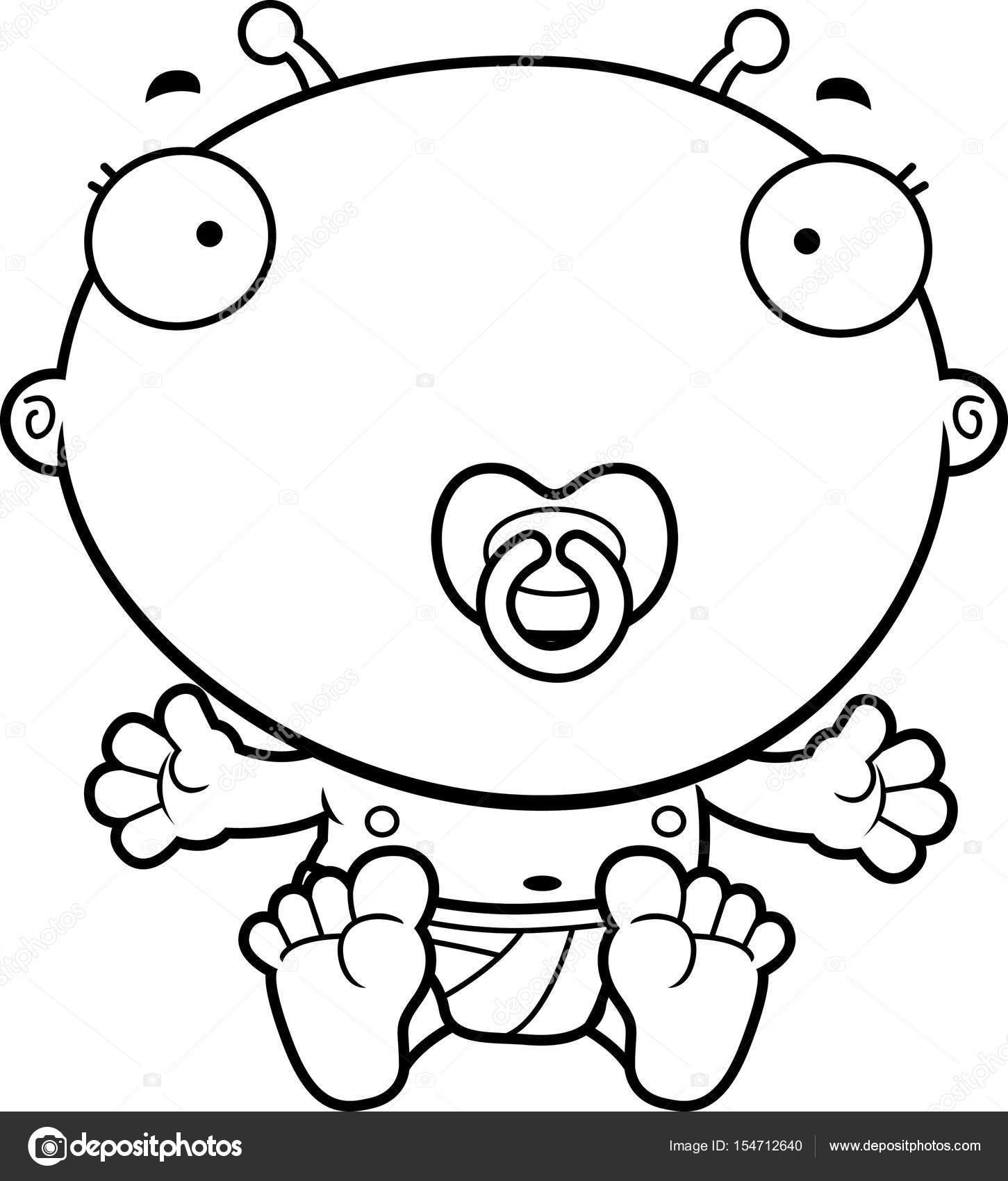 Dessin anim b b alien sucette image vectorielle - Dessin sucette bebe ...