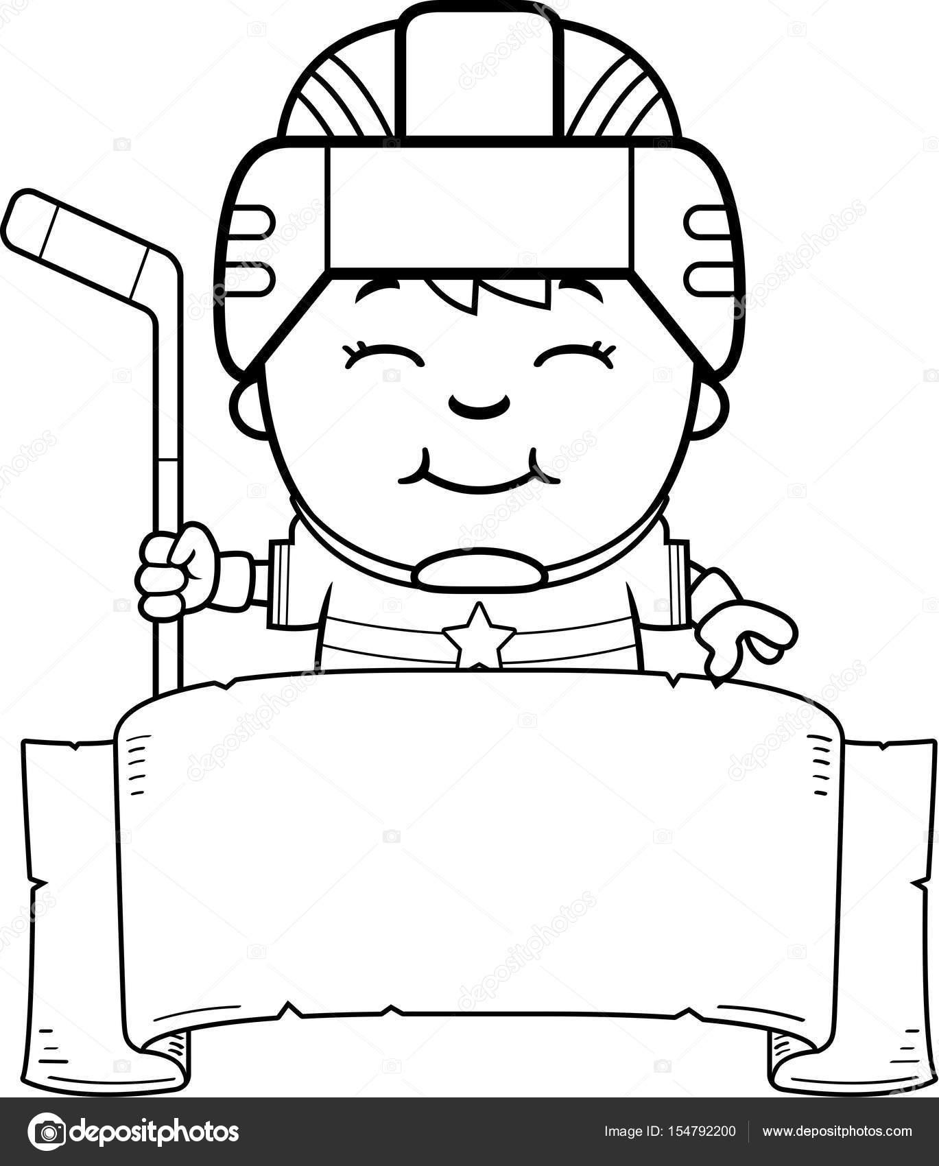 Dibujos animados Hockey jugador bandera — Archivo Imágenes ...