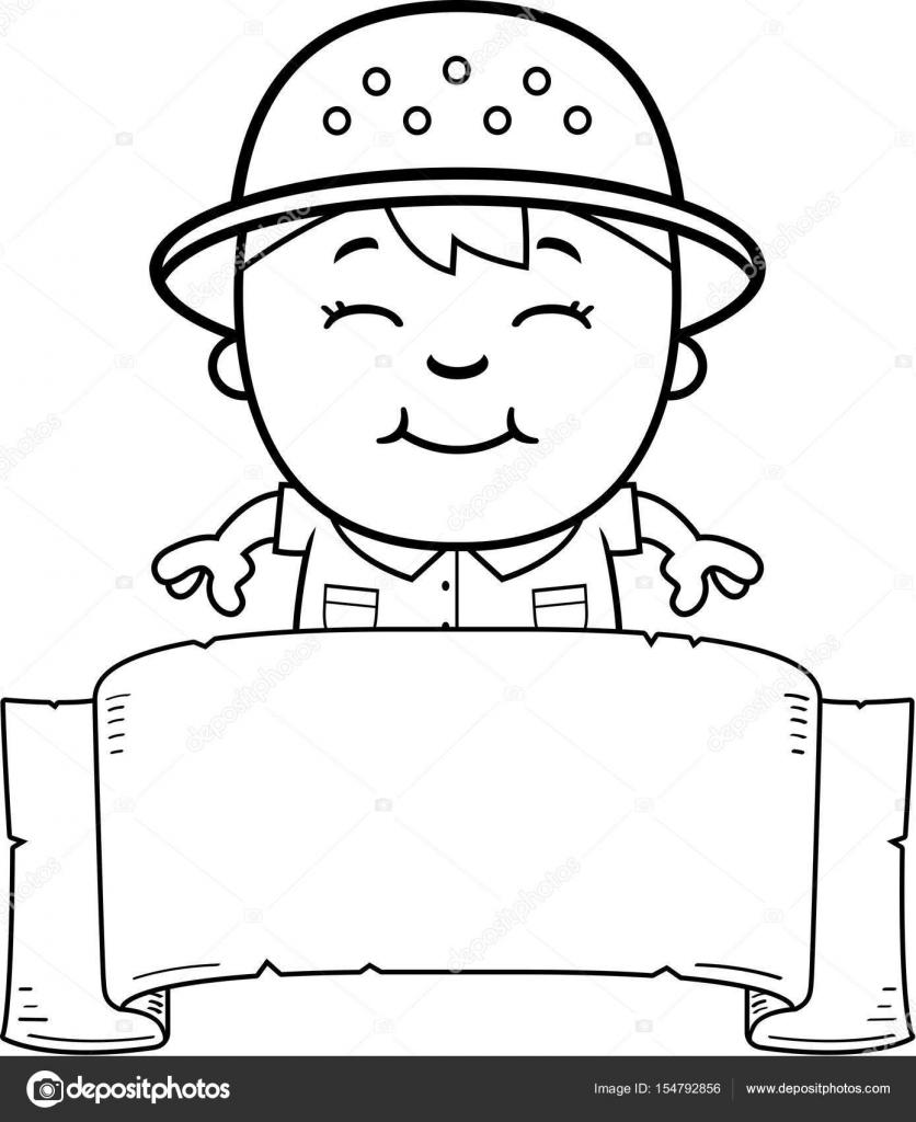 Bandera de explorador de dibujos animados — Vector de stock ...