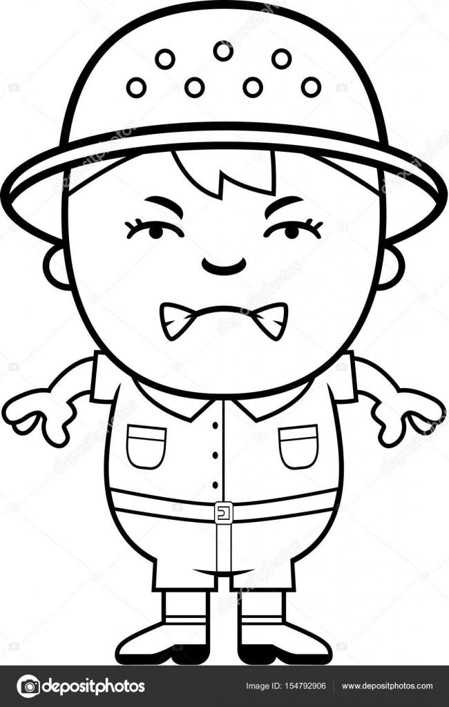 Explorador de muchacho enojado — Vector de stock © cthoman #154792906