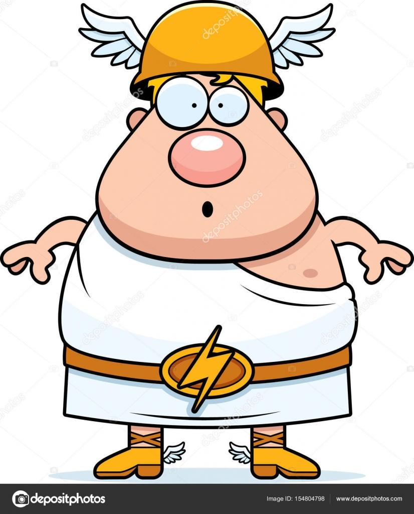 Mercurio Dios Romano Dibujo Dibujos Animados Sorprendido Hermes