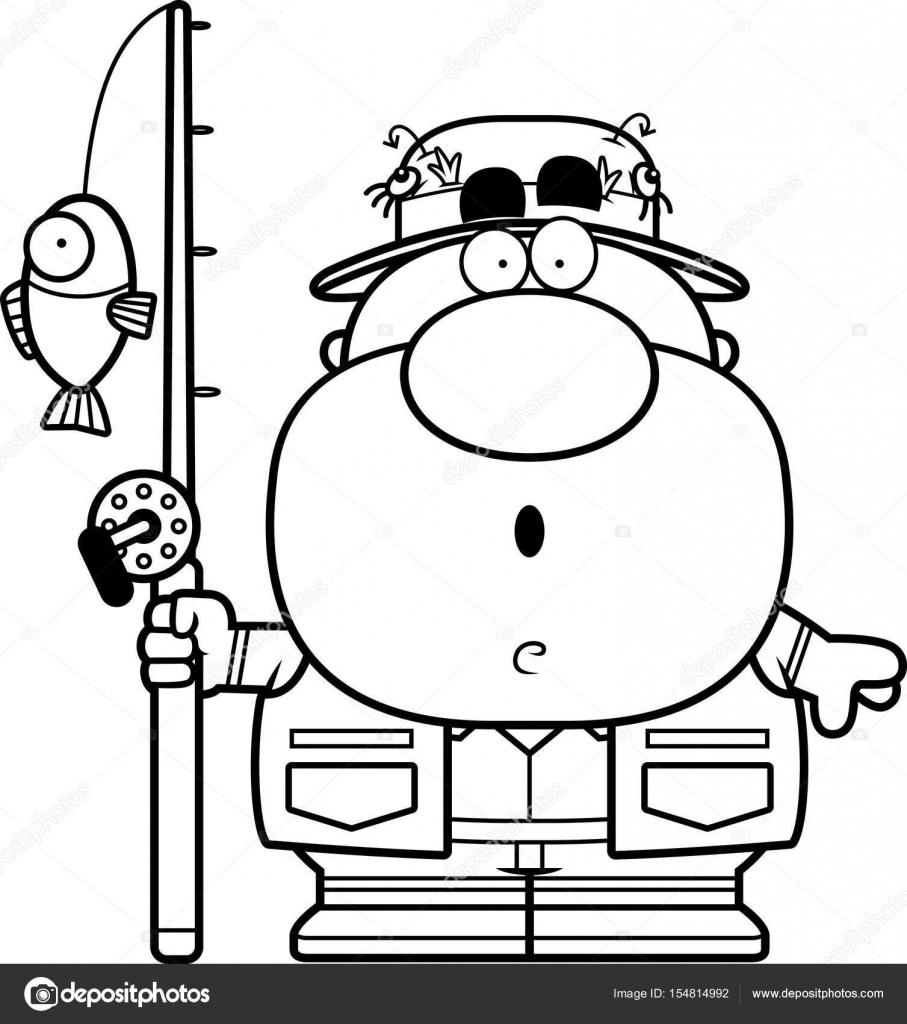 Prekvapeny Kresleny Rybar Stock Vektor C Cthoman 154814992