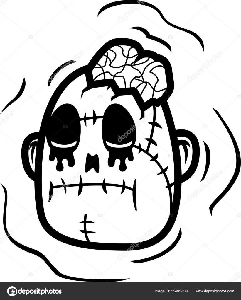 dibujos animados de cabeza zombi — Archivo Imágenes Vectoriales ...