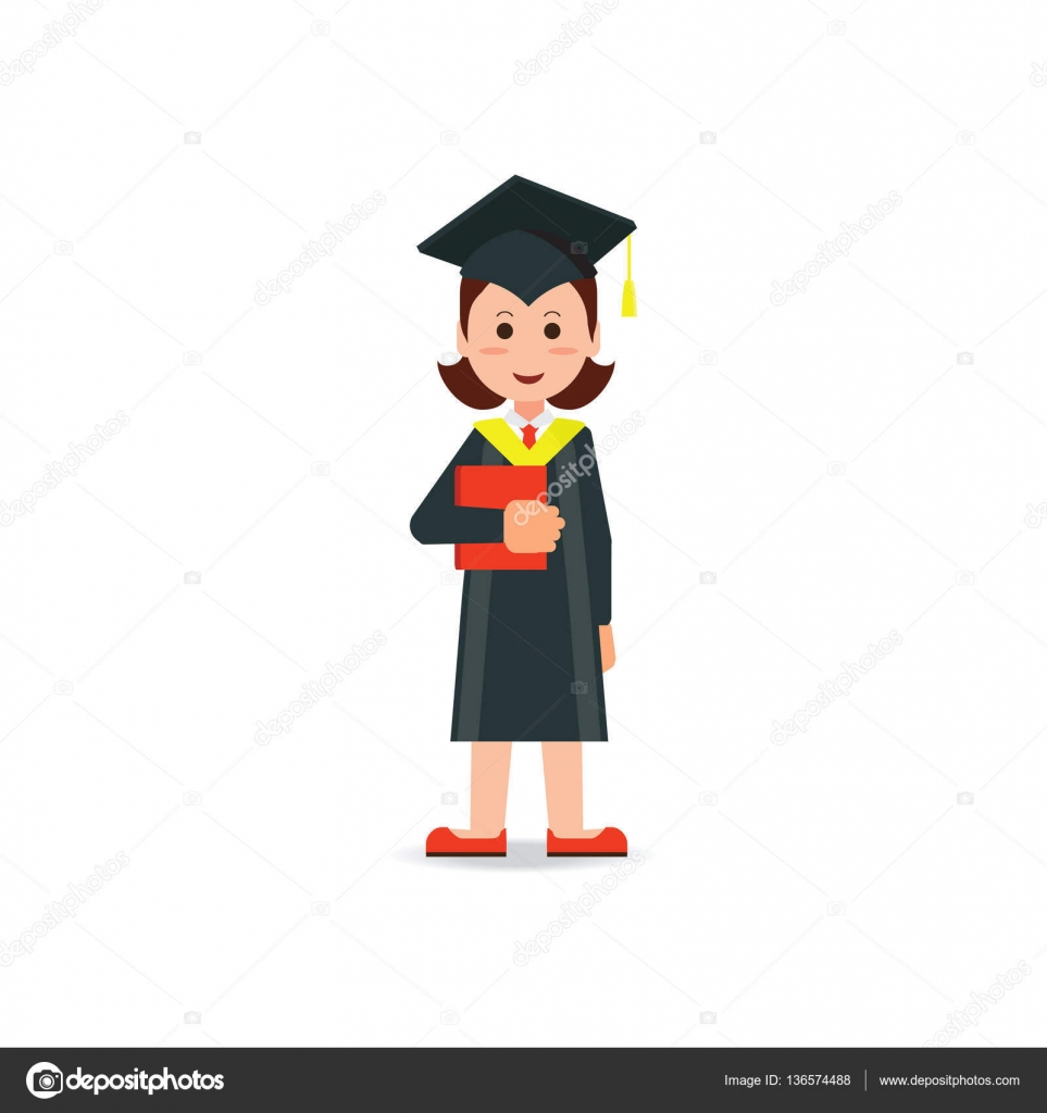 Happy student graduated wearing mortar board hat and gown. — Stock ...