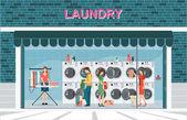 Vnější pohled zepředu a interiér prádelny s r