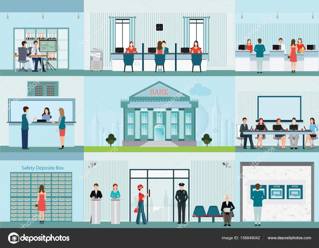 Bank Building And Finance Infographic With Office Front Desk Waiting Room Entrance Self Service Atm Banking People Working Concept Vector