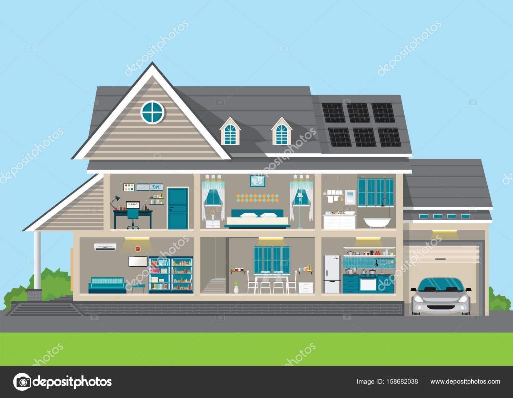 Modernes Wohndesign Exterieur- und Interieur-Zimmer mit Möbeln ...