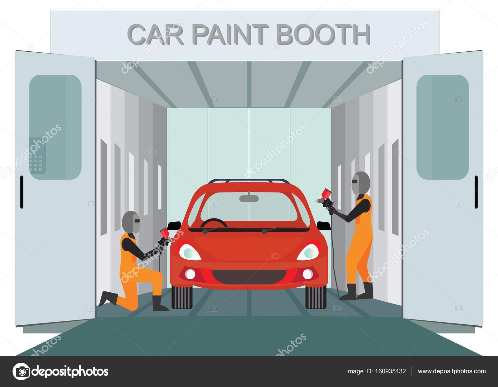 Coche nuevo de auto trabajador mec nico pintura en cabina de pintura de coche vector de stock - Cabina de pintura coches ...