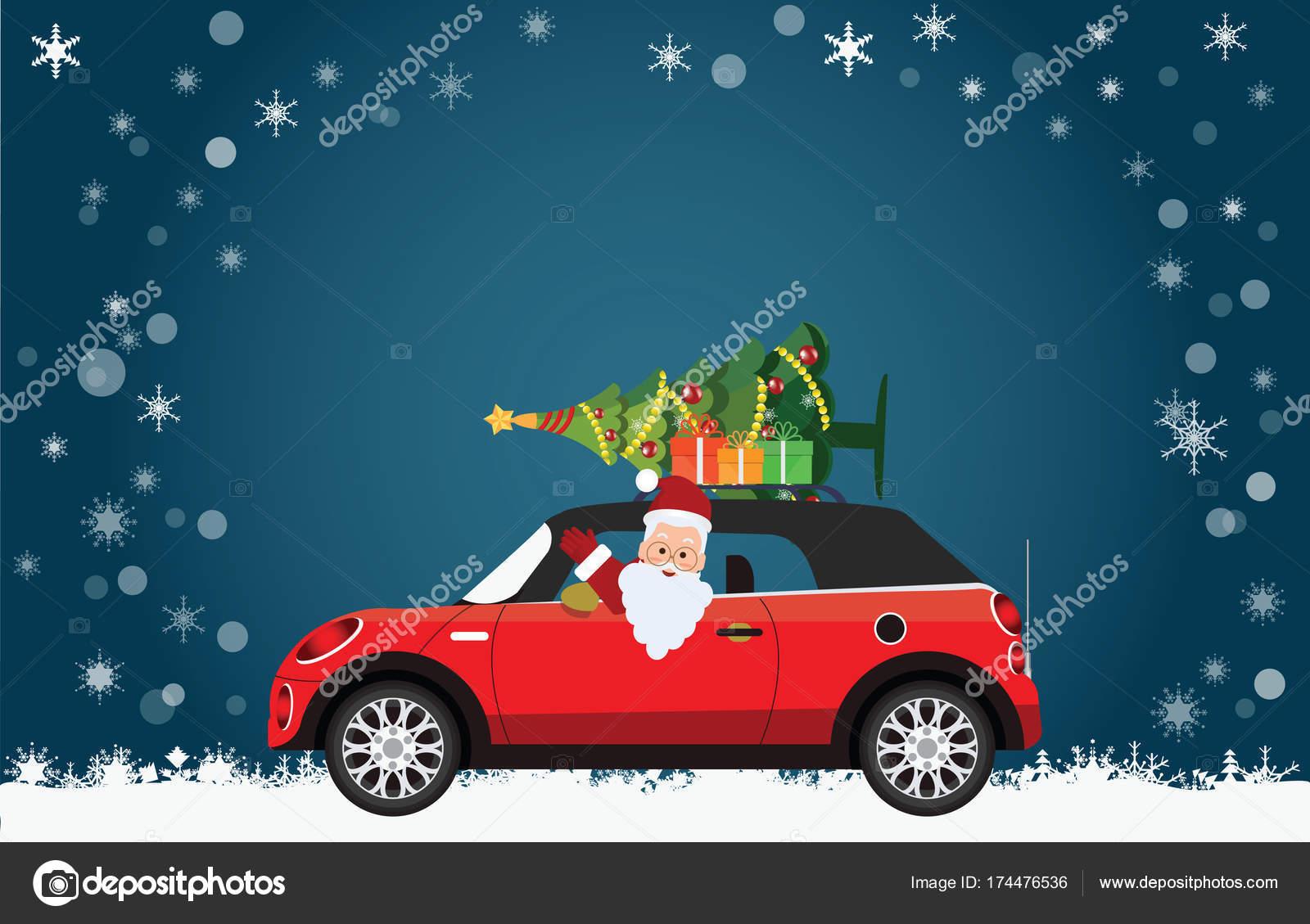 Lustige Weihnachtsmann Fahrt Ein Rotes Auto Mit Baum Und Geschenke