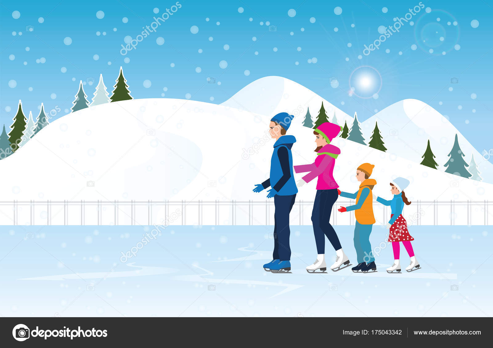 Cinco palabras de la familia de hielo familia feliz patinando en la pista de hielo en el - Dessin patinoire ...