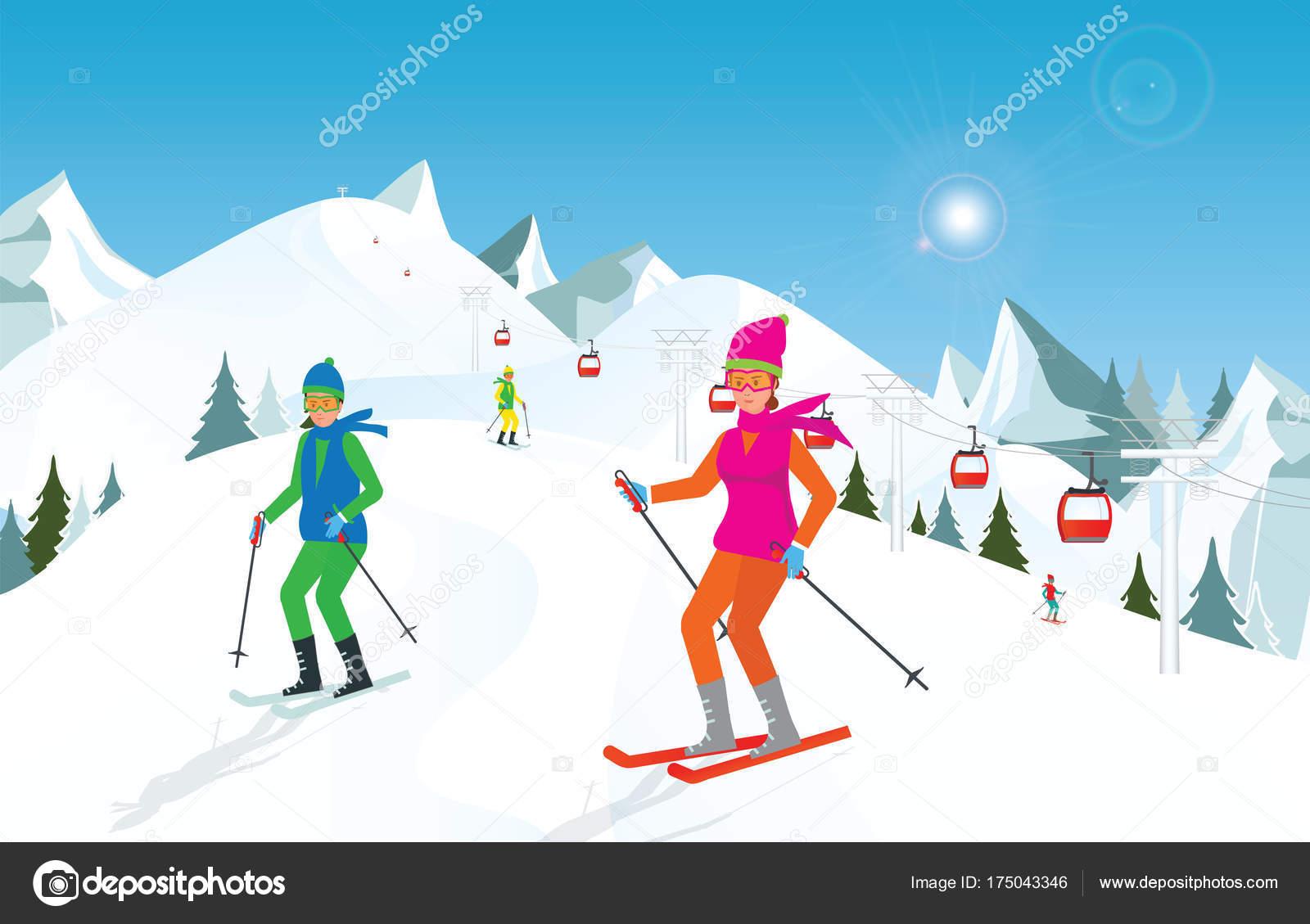 青空山でスキーのカップル — ストックベクター © poemsuk #175043346