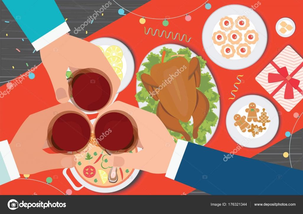 Weihnachtsessen Lecker.Weihnachtsessen Und Lecker Essen Auf Dem Tisch Stockvektor