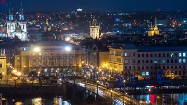 The Charles bridge in the evening with streams of tourists shot as a time lapse