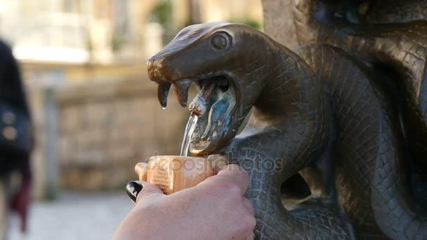 Pouliční kašna s vodou z bronzové hadí hlavou a pití žena